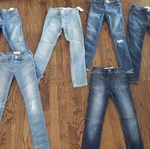 6 pairs Abercrombie kids jean leggings 9/10 slim